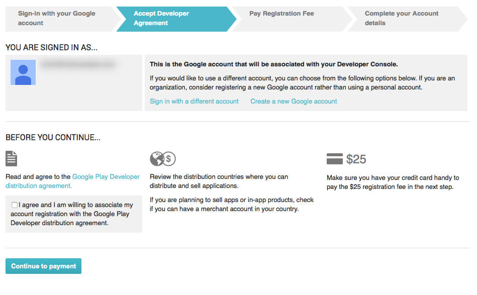 Google Play Developer distribution agreement